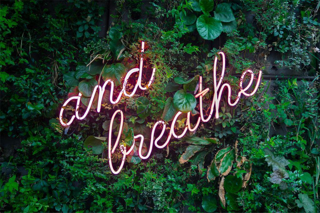 Neoninis LED ženklas and breathe